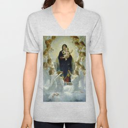 "William-Adolphe Bouguereau ""The Virgin with Angels"" Unisex V-Neck"