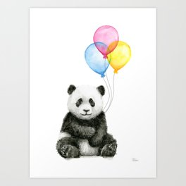 Panda Baby with Balloons Art Print