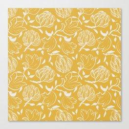 Yellow ocher floral pattern Canvas Print