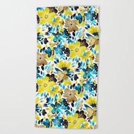 Happy Yellow Flower Collage Beach Towel