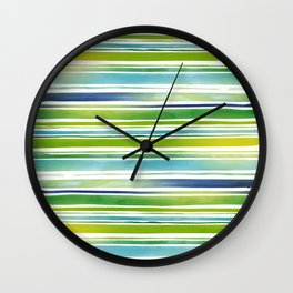 Watercolor Brush Stripes in Green and Blue Wall Clock