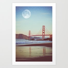 Golden Gate Moonrise   Golden Gate Bridge   Night Sky Art Print