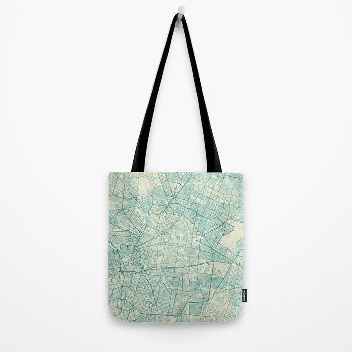 Mexico City Map Blue Vintage Tote Bag