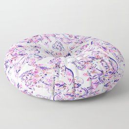 Purple pink watercolor gold chic floral paisley Floor Pillow