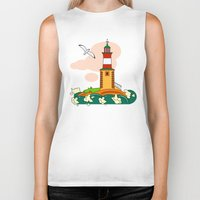 lighthouse Biker Tanks featuring Lighthouse by LaDa