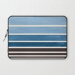 Green Blue Minimalist Watercolor Mid Century Staggered Stripes Rothko Color Block Geometric Art Laptop Sleeve