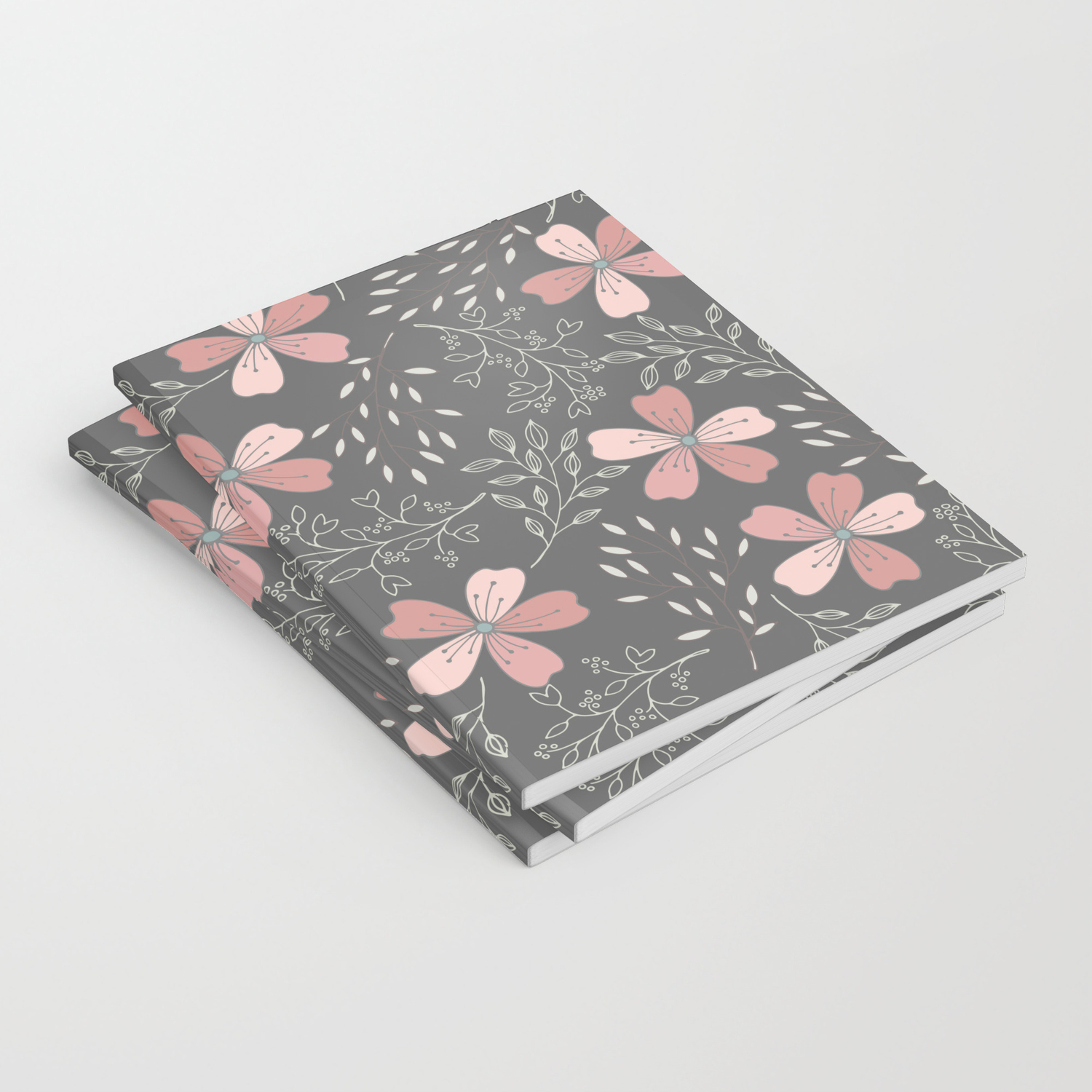 Pink Flowers on Gray background with vines Notebook by peppermintcreek |  Society6