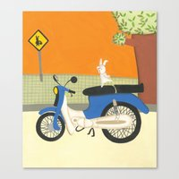 motorbike Canvas Prints featuring motorbike by Valeria Cis