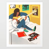 ramones Art Prints featuring Practice Time 3 by Chinworth Illustration