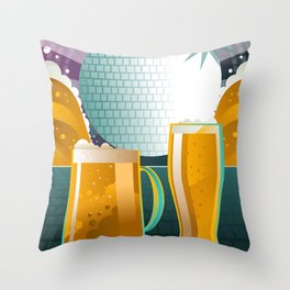 beer pint and mug in disco Throw Pillow