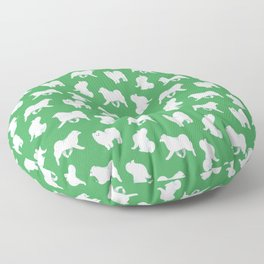 Samoyed Pattern (Green Background) Floor Pillow