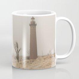 Little Sable Point Lighthouse Lake Michigan Fog Sand Winter Coffee Mug