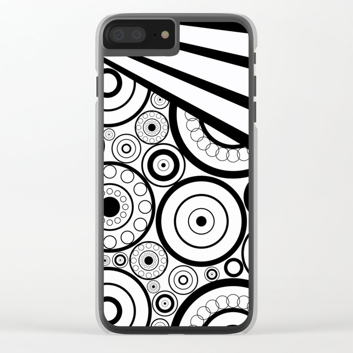 Abstract black and white pattern. Clear iPhone Case