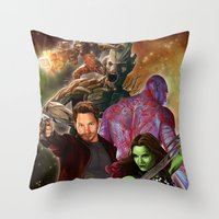 guardians of the galaxy Throw Pillows featuring Guardians of the Galaxy by Hellonsy