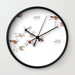 Beagles hunting Wall Clock