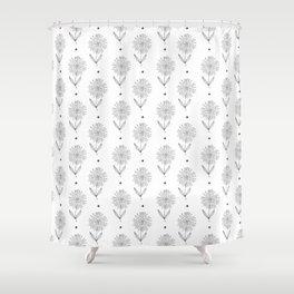 Hand drawn black white sunflower geometrical  pattern Shower Curtain