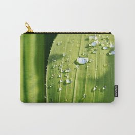 Raindrops on a green leaf Carry-All Pouch