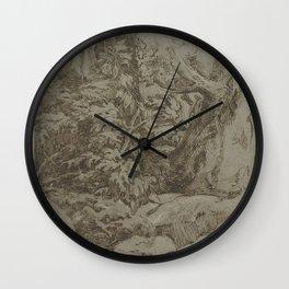 Parmigianino - Studie van een landschap Wall Clock