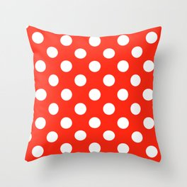 Red (RYB) - red - White Polka Dots - Pois Pattern Throw Pillow