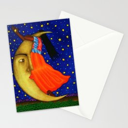 'Girl on the Moon with the Stars in her Hand' in the style of R. Morales (Artist Unknown) Stationery Cards