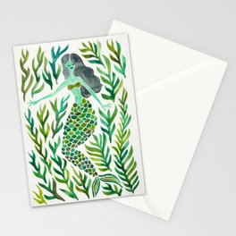 Kelp Forest Mermaid – Green Palette Stationery Cards