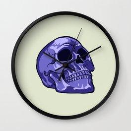 Blue Skull Illustration Wall Clock