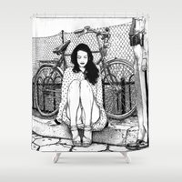 apollonia Shower Curtains featuring asc 592 - L'amende honorable (A satisfactory apology) by From Apollonia with Love