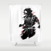winter soldier Shower Curtains featuring The Winter Soldier by Ashqtara