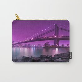 Rocky Shore Sight Of Urbanscape And Bridge Violet Hue High Resolution Carry-All Pouch