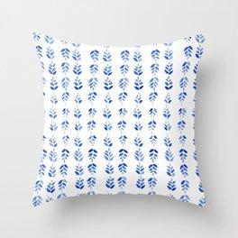 Indigo Blossom - nature watercolour pattern Throw Pillow