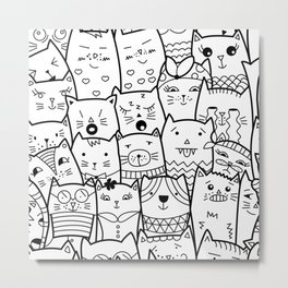 Black and White Cat Expressions Metal Print