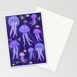 Sea jellyfish on dark purple background. Stationery Cards