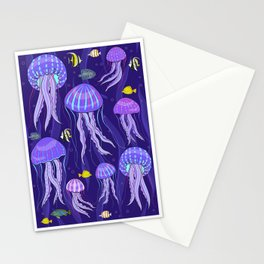 Sea jellyfish on dark purple background. Stationery Cards