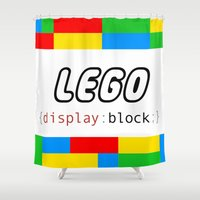 pun Shower Curtains featuring CSS Pun - Lego by iwantdesigns