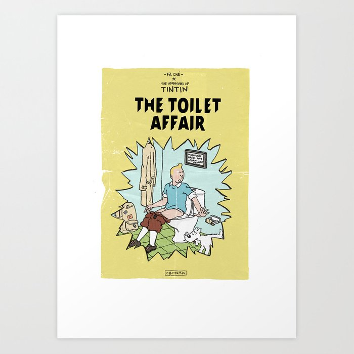 Tintin Cover Parody | The Toilet Affair Kunstdrucke