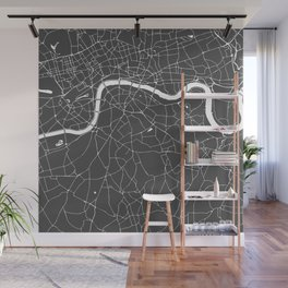 Gray on White London Street Map Wall Mural