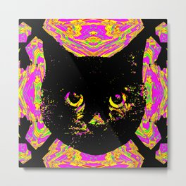 Purple Streak Quad Cat Metal Print