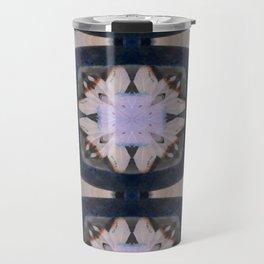 Fringed Petals on Peach Flower Pattern Travel Mug
