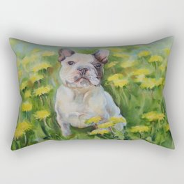 Frenchie Cute French Bulldog puppy portrait Bully Dog Pet in the meadow Yellow Flowers Painting Rectangular Pillow