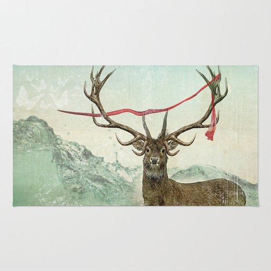 hold deer, tsunami Rug