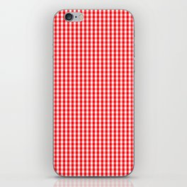 Small Snow White and Christmas Red Gingham Check Plaid iPhone Skin