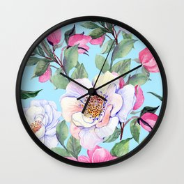 Chic, Elegance Floral Print on Pastel Blue Background Wall Clock