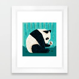 The Panda and The Butterfly - turquoise version Framed Art Print