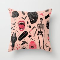 black Throw Pillows featuring Whole Lotta Horror by Josh Ln
