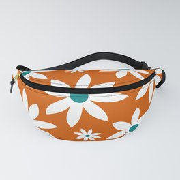 Fun, Modern, Flowers Print, Orange, Teal and White Fanny Pack