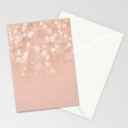 Elegant coral rose gold white ombre floral Stationery Cards
