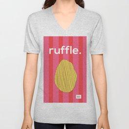 Ruffle Unisex V-Neck