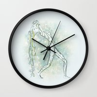 aquarius Wall Clocks featuring Aquarius by Vibeke Koehler