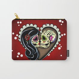 Ashes - Day of the Dead Couple - Kissing Sugar Skull Lovers Carry-All Pouch