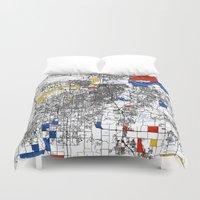 kansas city Duvet Covers featuring Kansas city mondrian map by Mondrian Maps